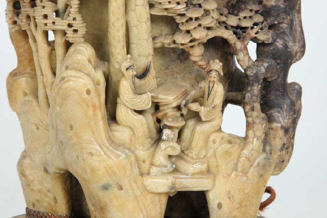 CHINESE CARVED SOAPSTONE LAMP - 6