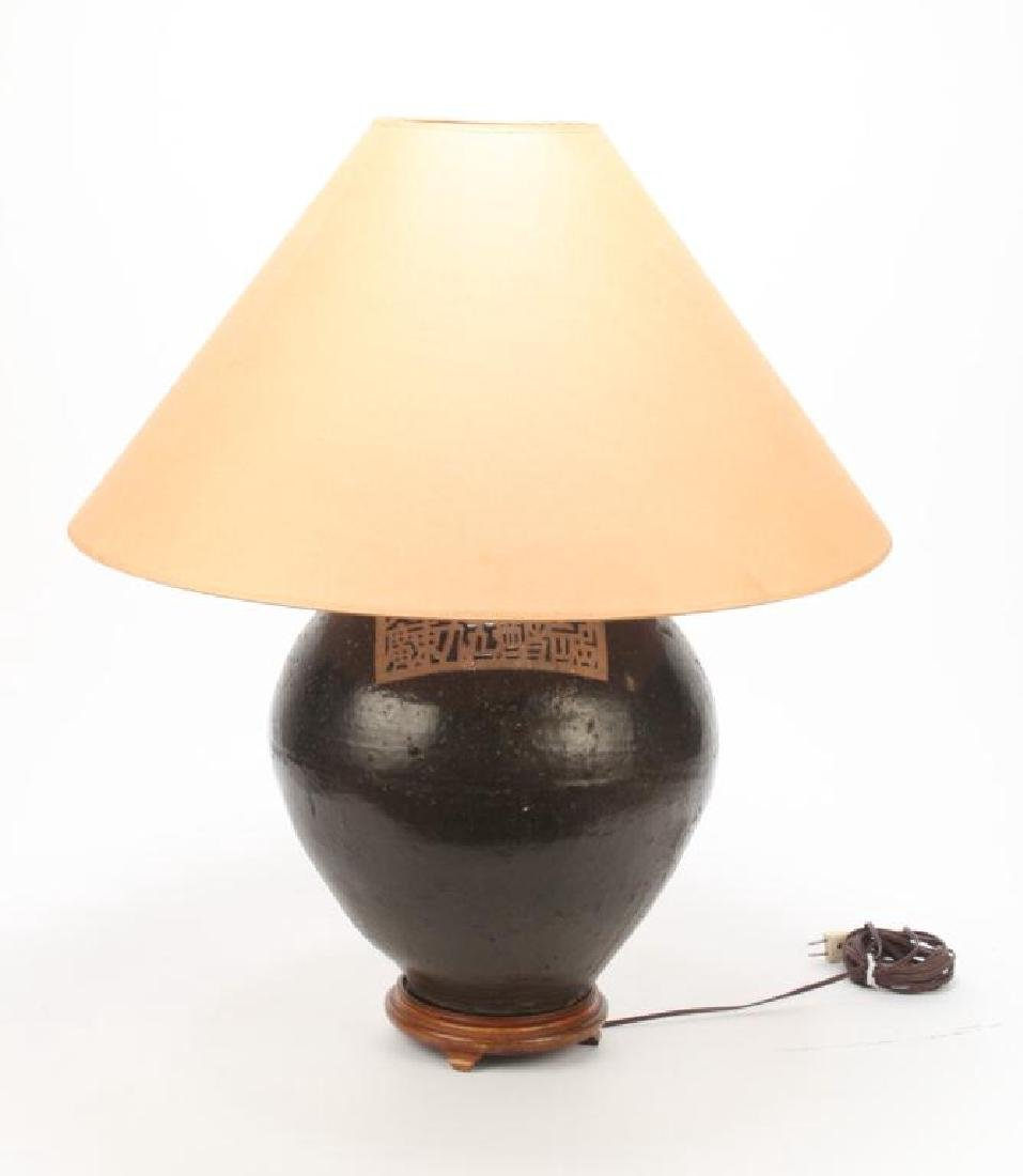 LARGE JAPANESE CERAMIC LAMP - 6