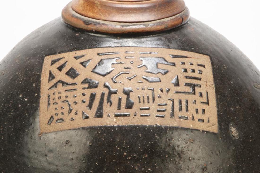 LARGE JAPANESE CERAMIC LAMP - 7