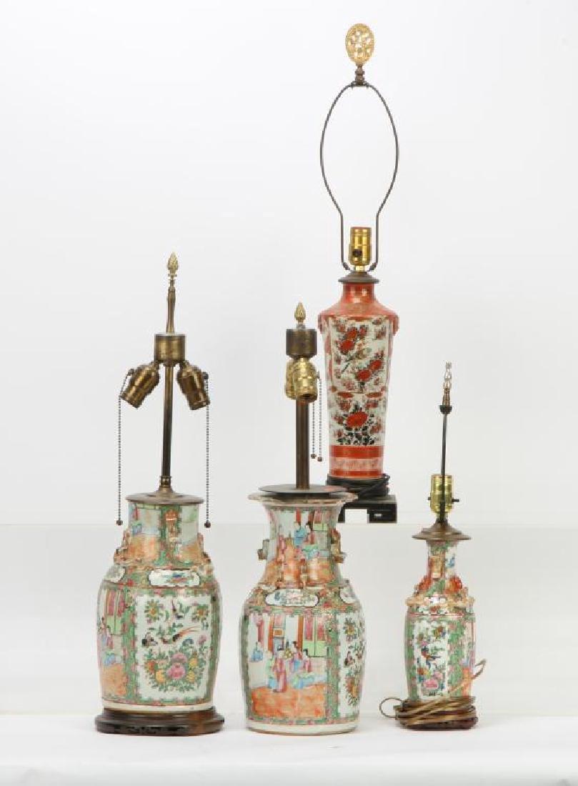 (4) ASIAN PORCELAIN TABLE LAMP BASES
