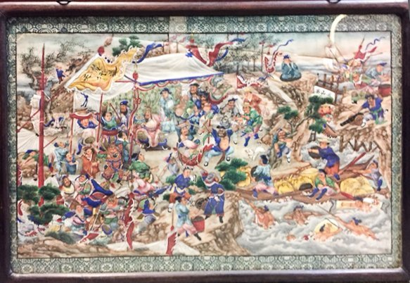 (19th c) CHINESE  PAINTING of FIGHTING WARRIORS