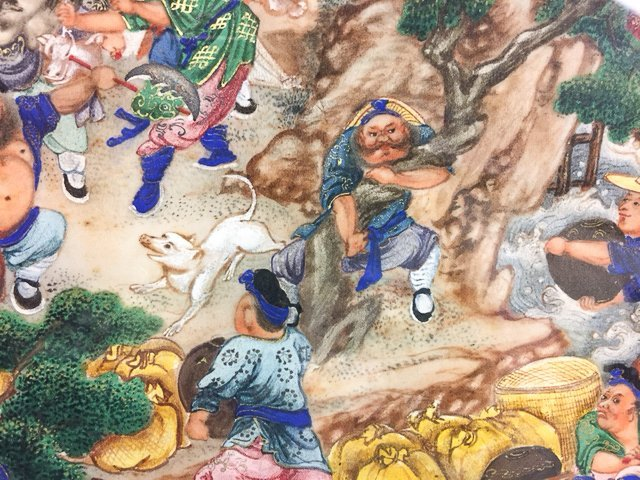 (19th c) CHINESE  PAINTING of FIGHTING WARRIORS - 3