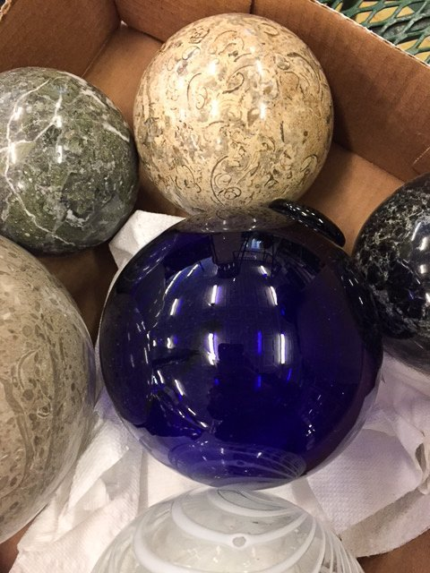 GROUP CARPET/ TWO BLOWN GLASS BALLS - 2