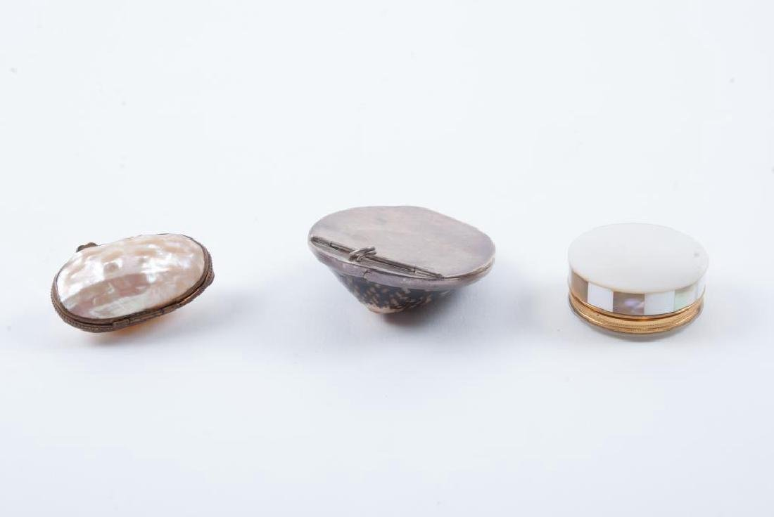 (1) COWRIE SHELL and (2) ABALONE TRINKET BOXES - 3