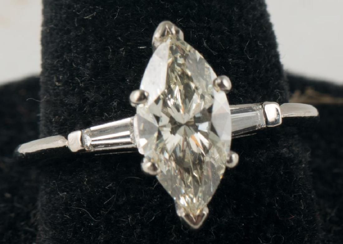 14K GOLD ENGAGEMENT RING with MARQUISE CUT DIAMOND