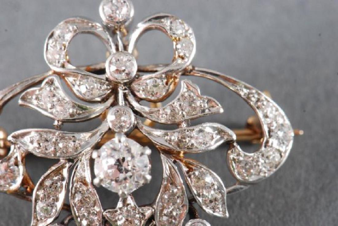 ANTIQUE DIAMOND BROOCH / PENDANT - 8