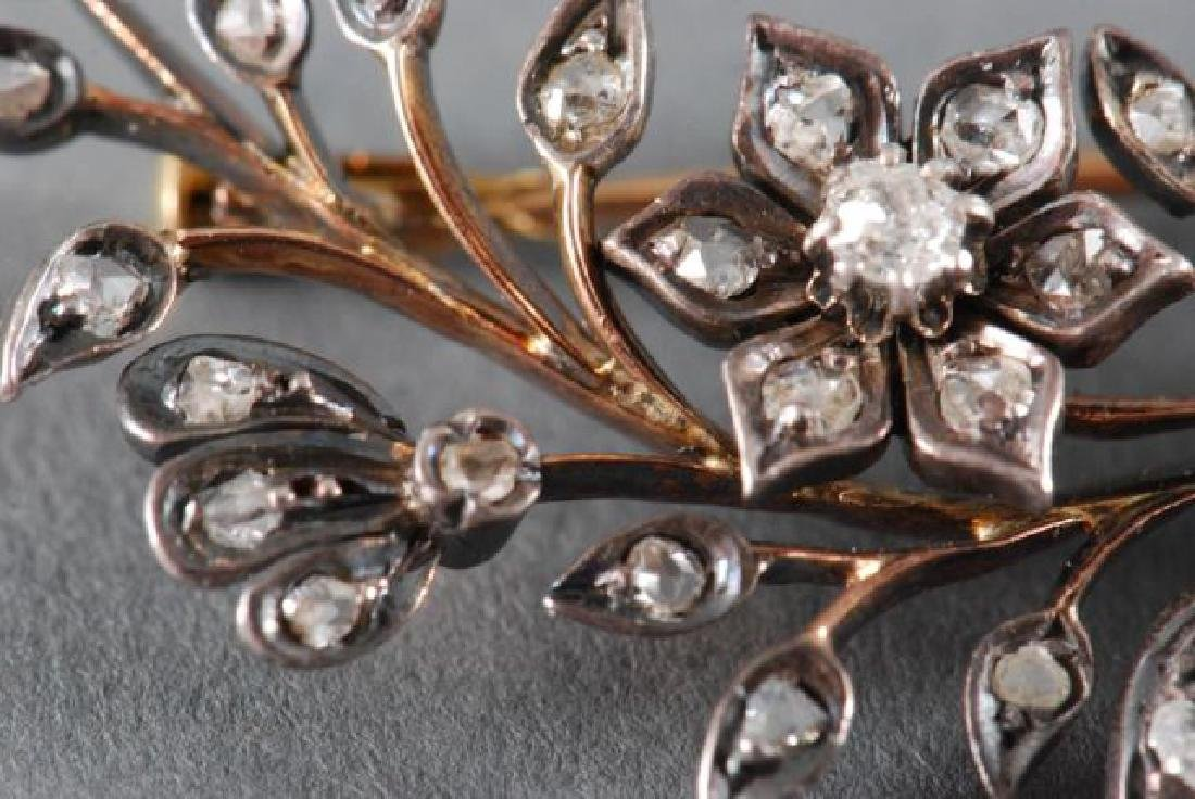 CLOSE SET DIAMOND FLORAL SPRAY BROACH - 5