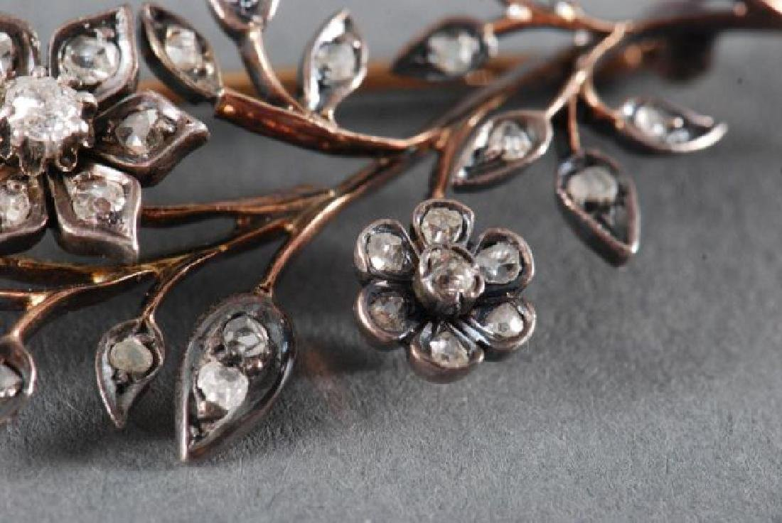 CLOSE SET DIAMOND FLORAL SPRAY BROACH - 6