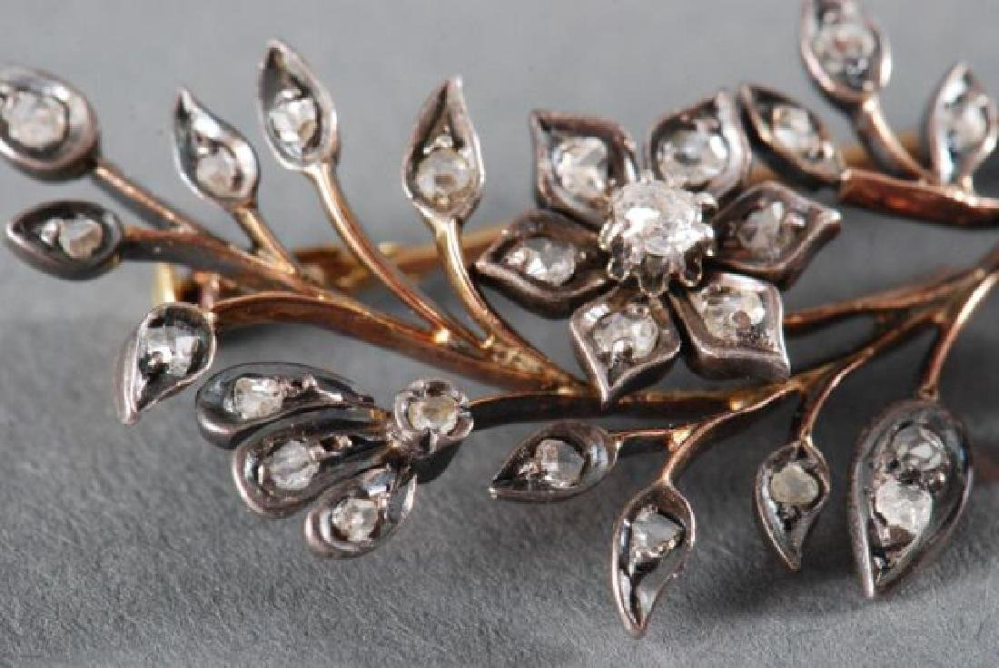 CLOSE SET DIAMOND FLORAL SPRAY BROACH - 7