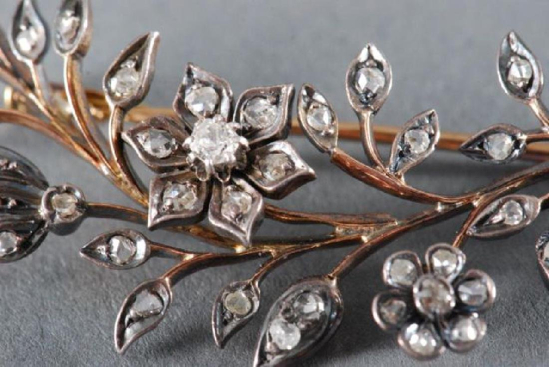 CLOSE SET DIAMOND FLORAL SPRAY BROACH - 8