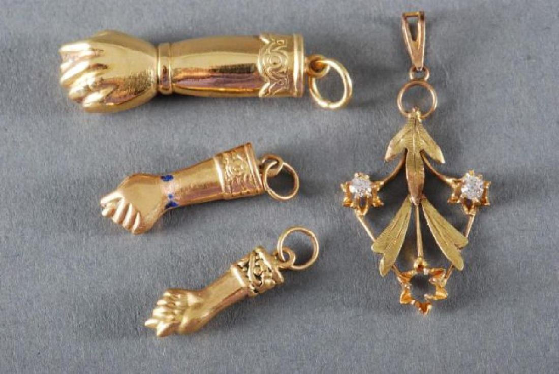 (3) 18K FIGA FISTS and a 14K GOLD PENDANT