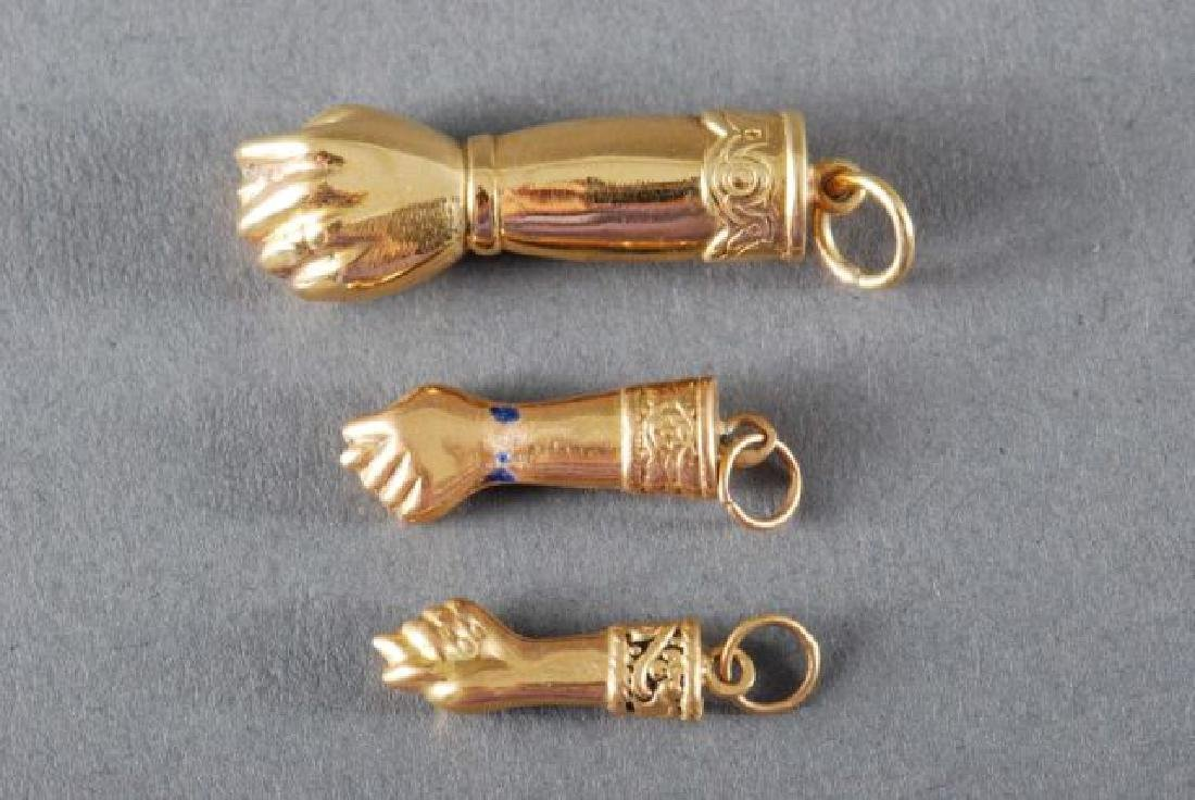 (3) 18K FIGA FISTS and a 14K GOLD PENDANT - 7