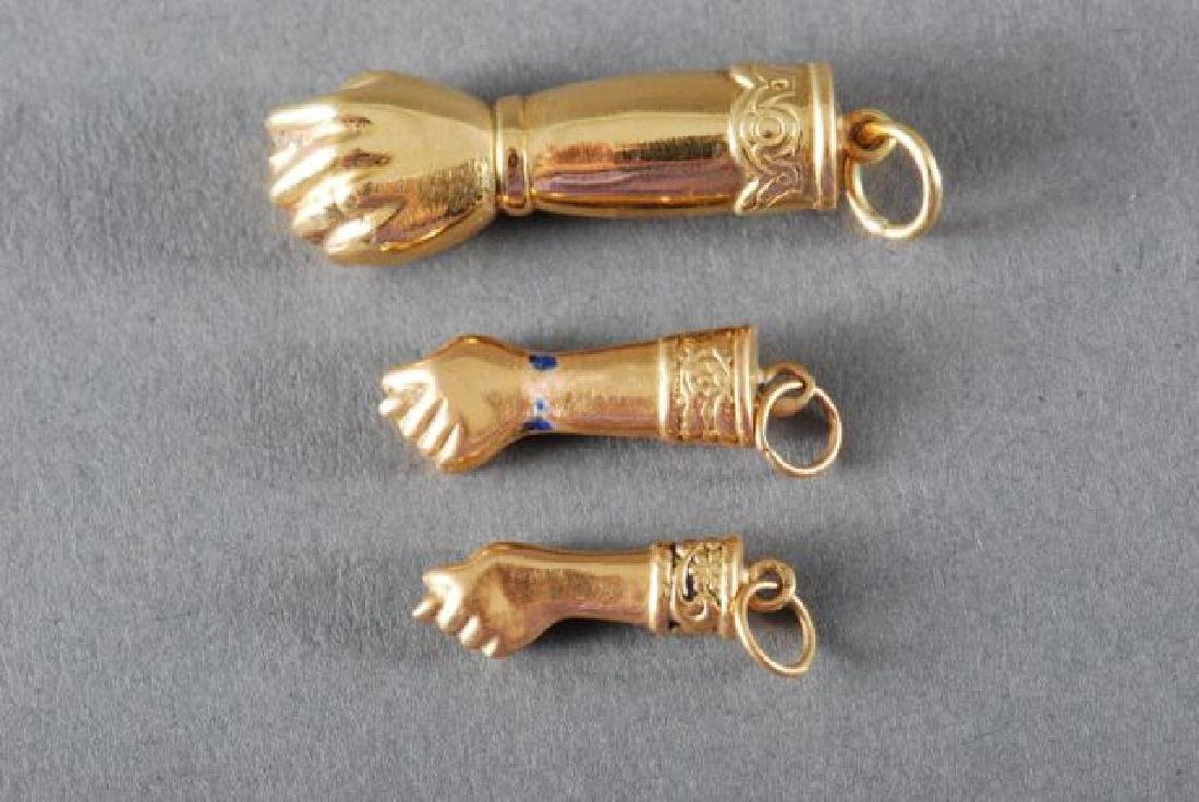 (3) 18K FIGA FISTS and a 14K GOLD PENDANT - 8
