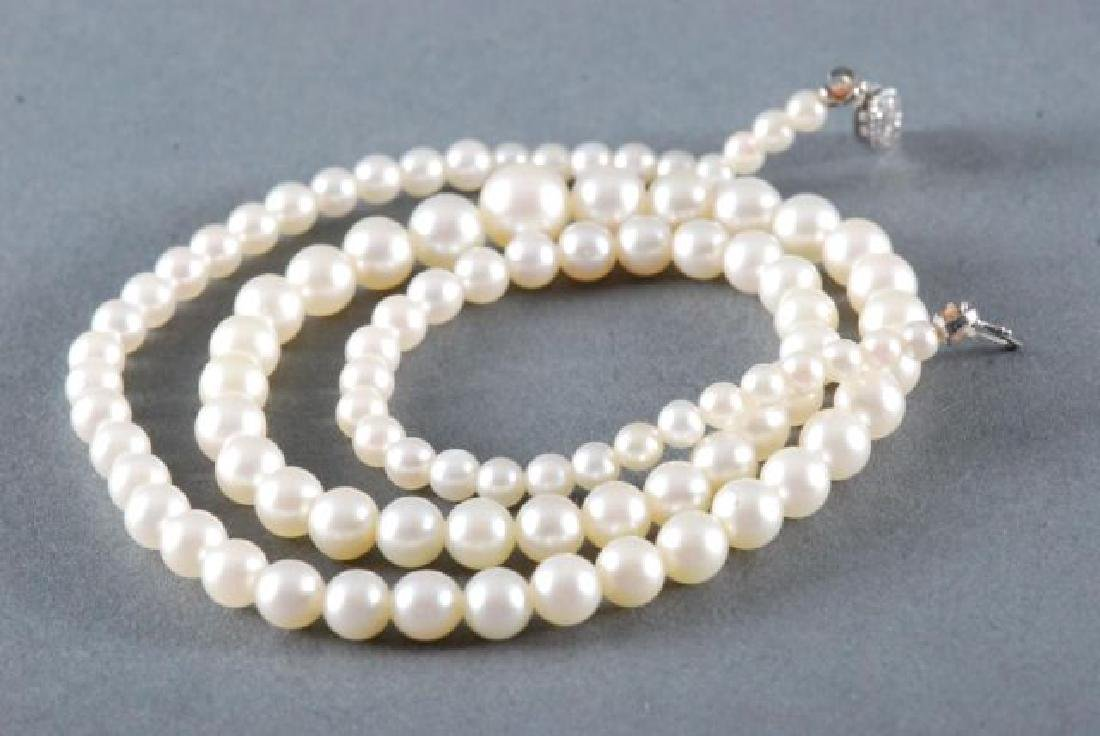 PEARL NECKLACE with 14K WHITE GOLD CLASP - 4