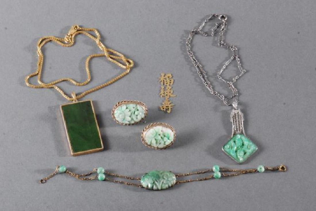 (4) PIECES OF JEWELRY SET with JADE - 6