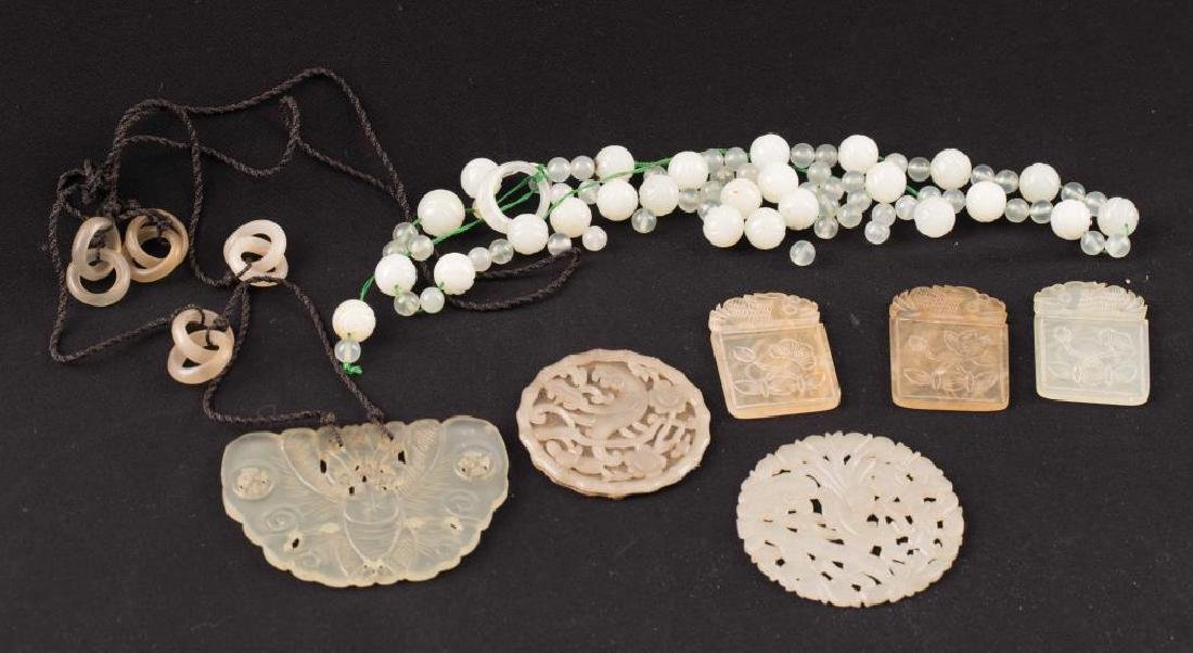 LOT OF CHINESE CARVED JADE ID's & (2) NECKLACES