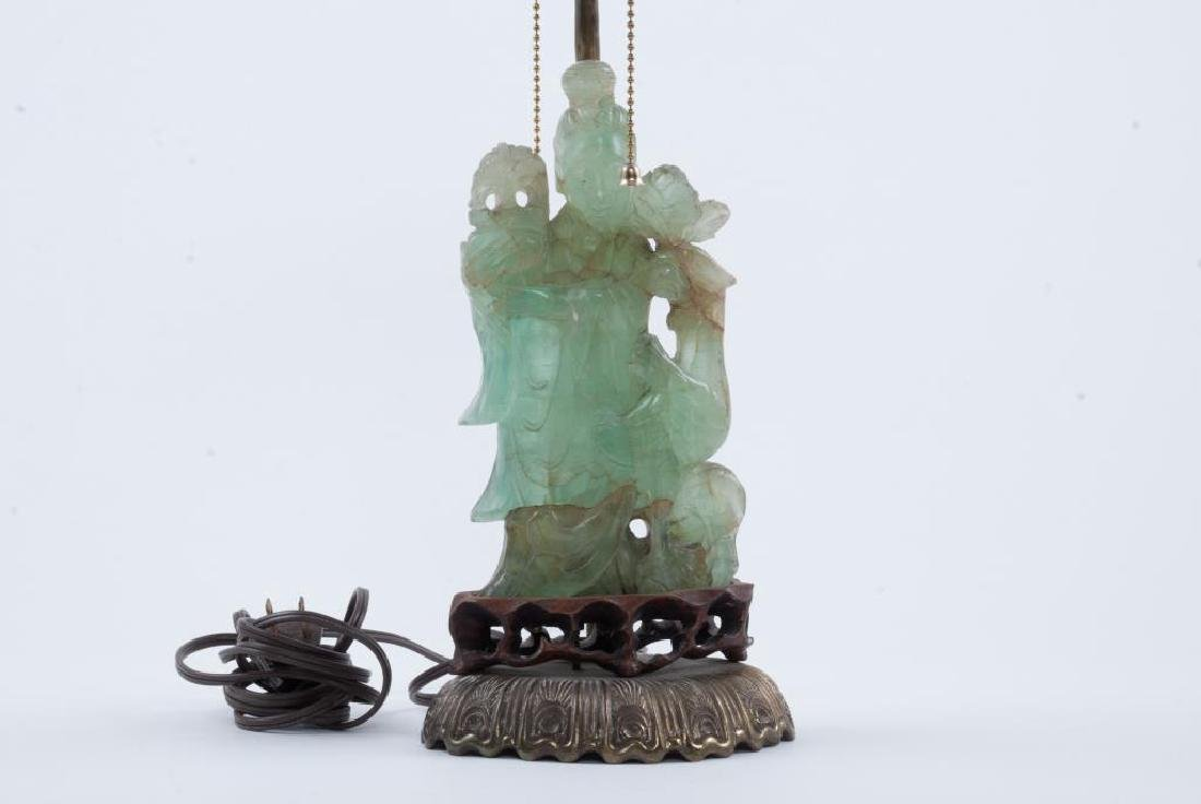 CHINESE CARVED GREEN QUARTZ TABLE LAMP - 4