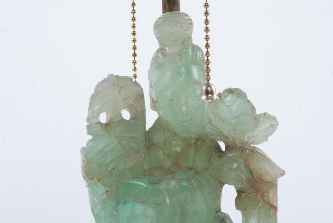 CHINESE CARVED GREEN QUARTZ TABLE LAMP - 5