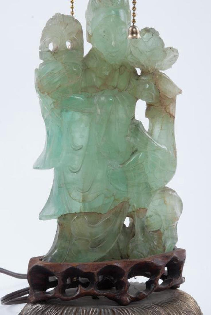 CHINESE CARVED GREEN QUARTZ TABLE LAMP - 7