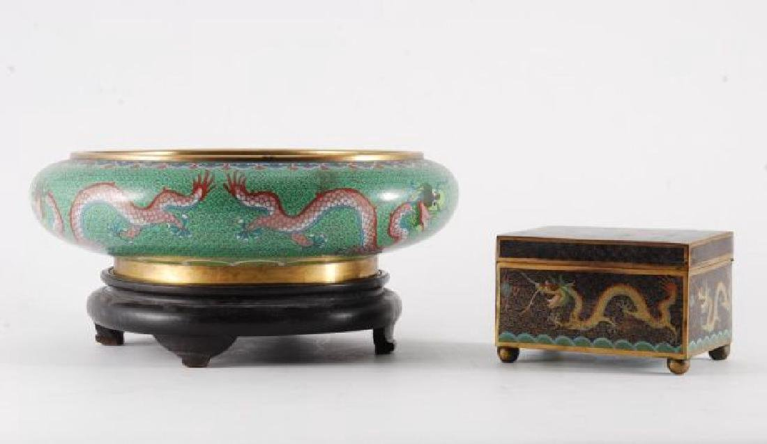 (2) PIECES OF CLOISONNE with (5) CLAW DRAGONS