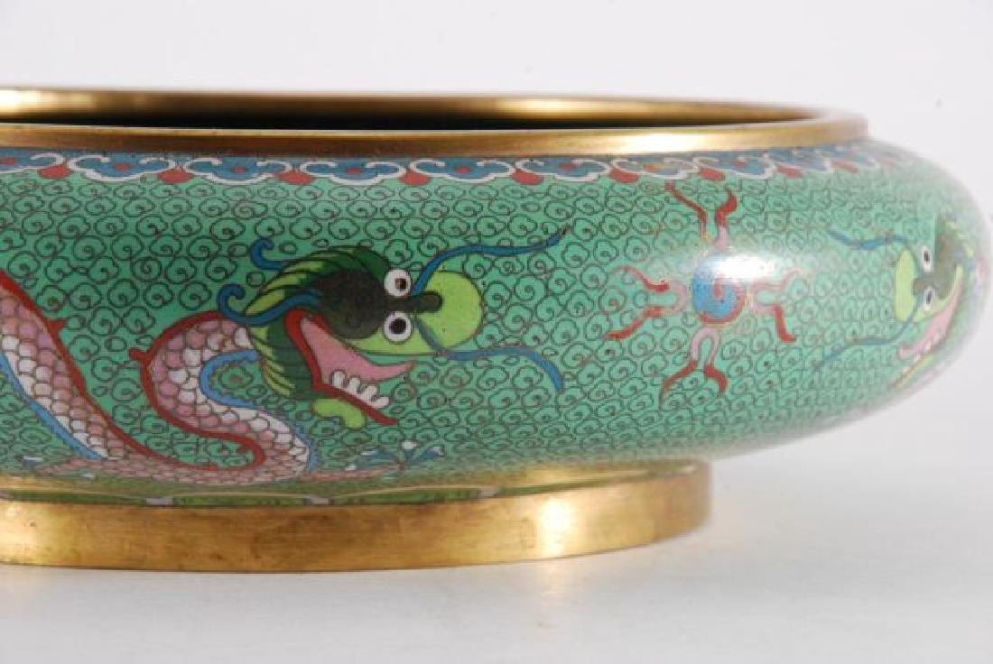 (2) PIECES OF CLOISONNE with (5) CLAW DRAGONS - 2