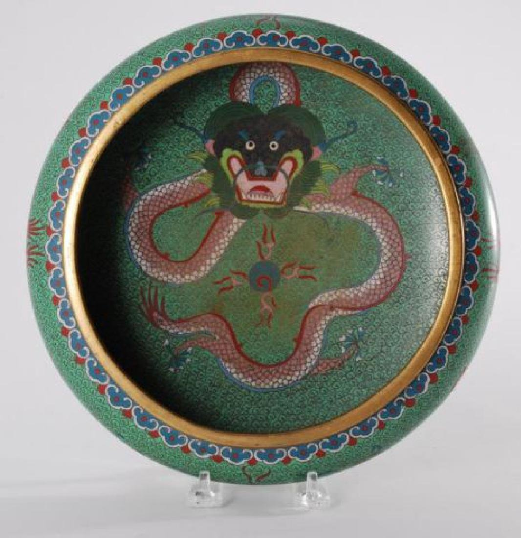 (2) PIECES OF CLOISONNE with (5) CLAW DRAGONS - 3