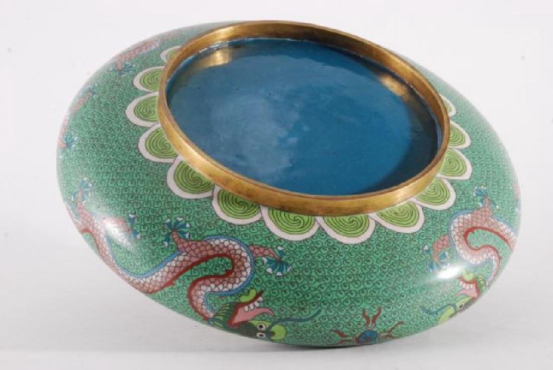 (2) PIECES OF CLOISONNE with (5) CLAW DRAGONS - 4