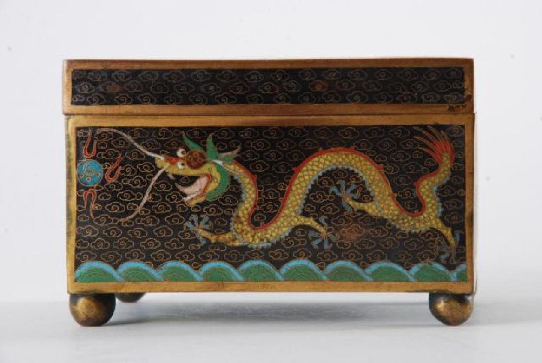 (2) PIECES OF CLOISONNE with (5) CLAW DRAGONS - 6