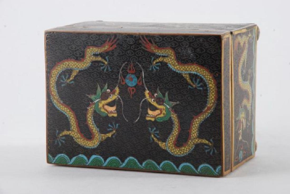 (2) PIECES OF CLOISONNE with (5) CLAW DRAGONS - 8