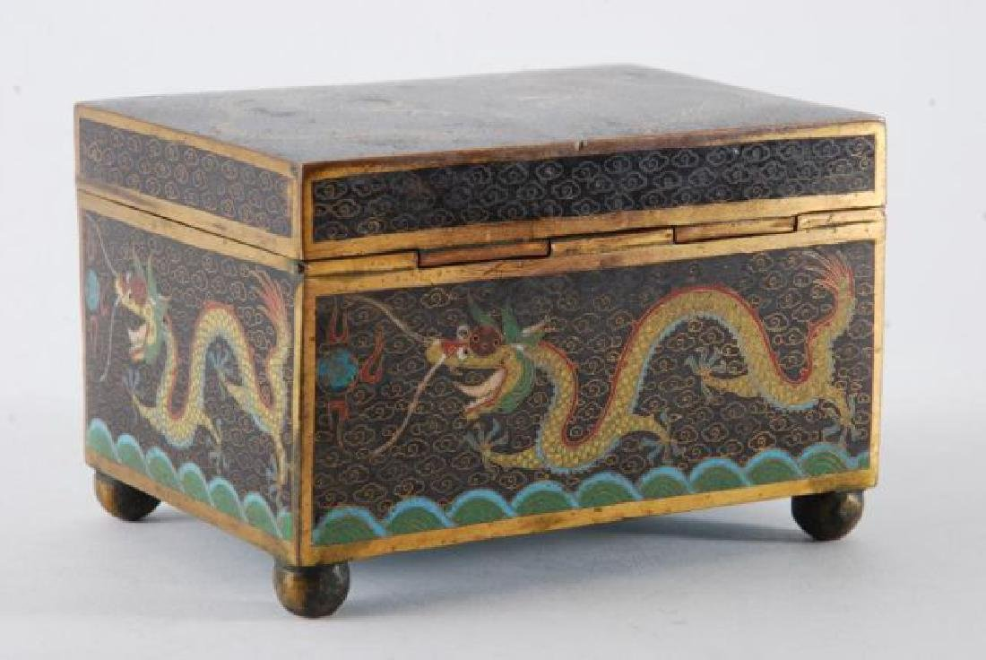 (2) PIECES OF CLOISONNE with (5) CLAW DRAGONS - 9