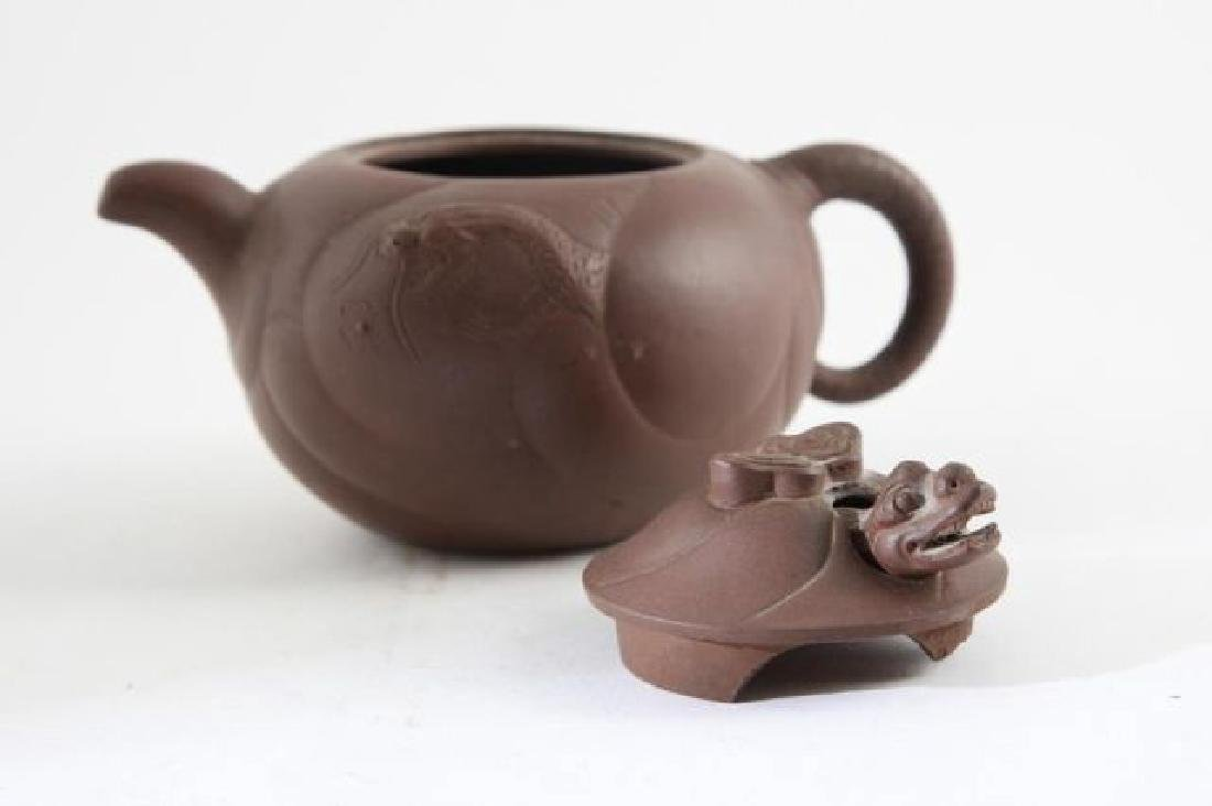CHINESE YIXING ZISHA REDDISH BROWN CLAY TEAPOT - 8