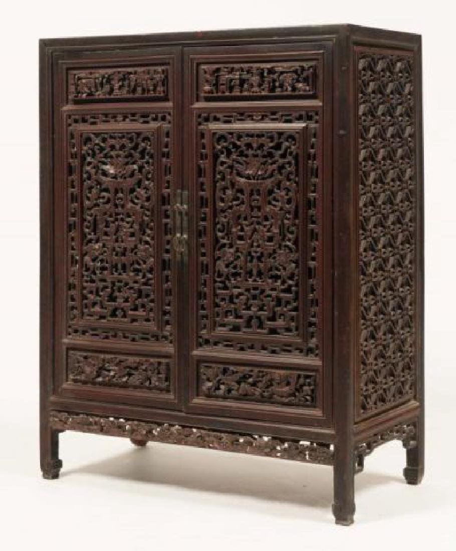 (18th/ 19th c) CARVED AND PIERCED CHINESE CABINET