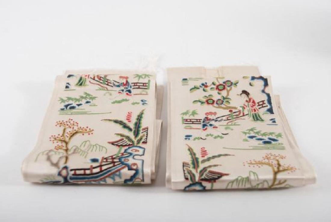 PAIR OF CHINESE SILK EMBROIDERED ROBE SLEEVE BANDS