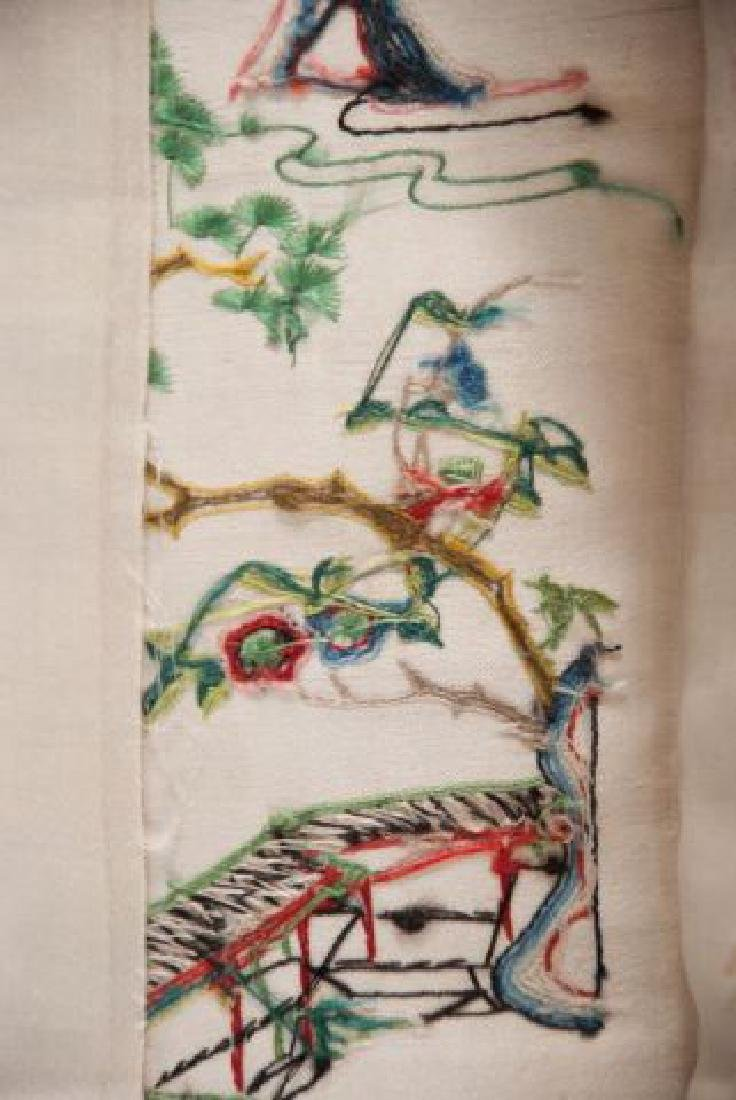 PAIR OF CHINESE SILK EMBROIDERED ROBE SLEEVE BANDS - 4