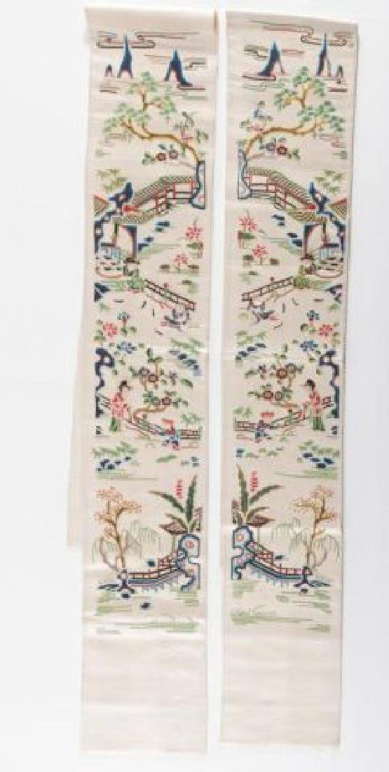 PAIR OF CHINESE SILK EMBROIDERED ROBE SLEEVE BANDS - 6