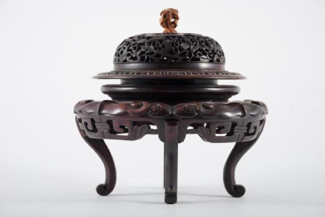 FINE QUALITY ASIAN CARVED STAND, BASE AND COVER