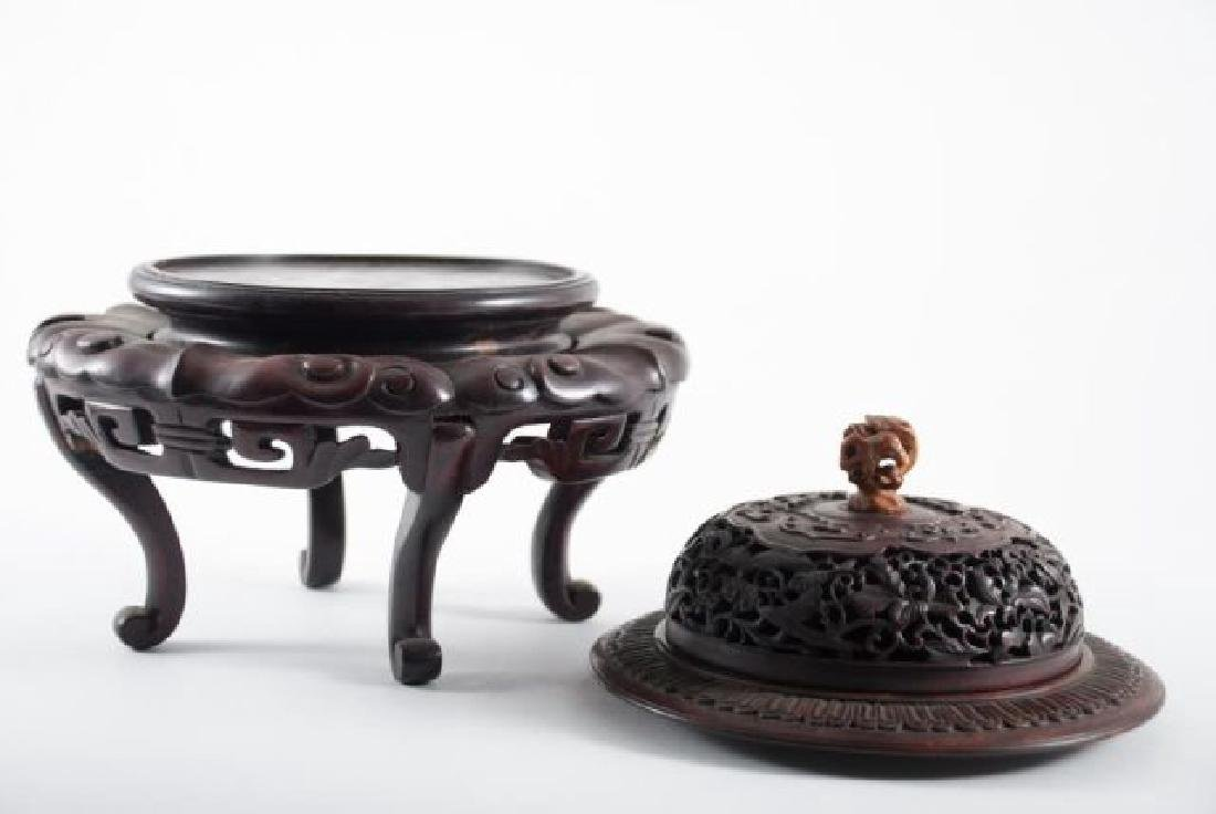 FINE QUALITY ASIAN CARVED STAND, BASE AND COVER - 5