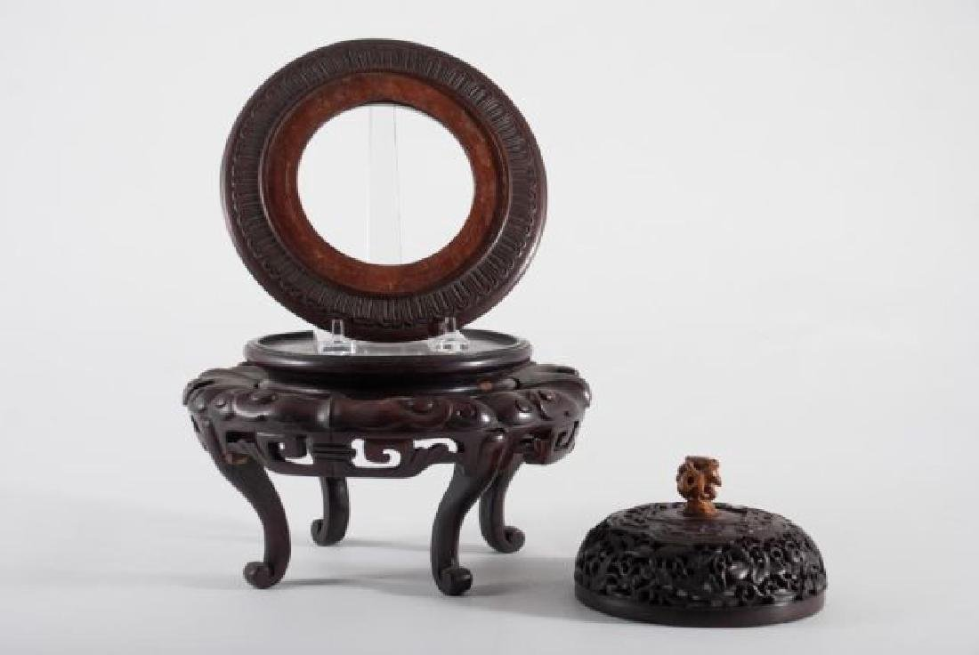 FINE QUALITY ASIAN CARVED STAND, BASE AND COVER - 6