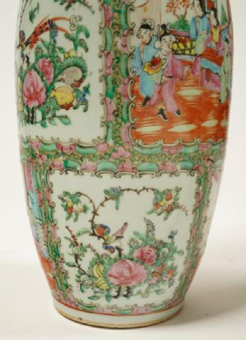 PAIR OF CHINESE ROSE MEDALLION PORCELAIN VASES - 9