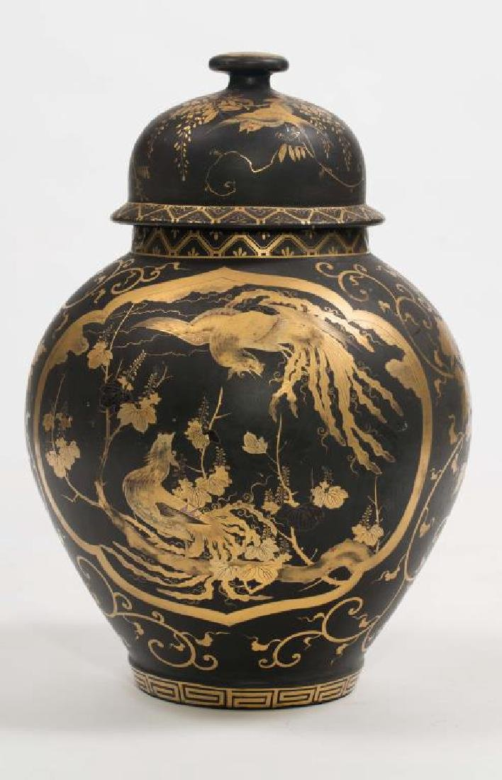CHINESE FAMILLE NOIRE COVERED VASE