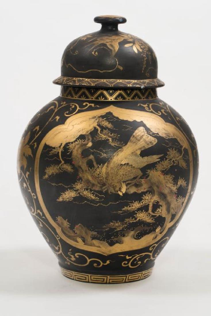 CHINESE FAMILLE NOIRE COVERED VASE - 3