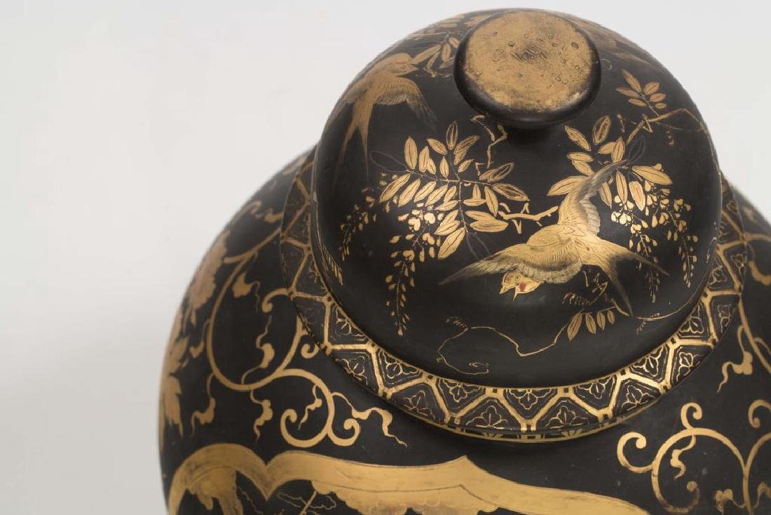 CHINESE FAMILLE NOIRE COVERED VASE - 8
