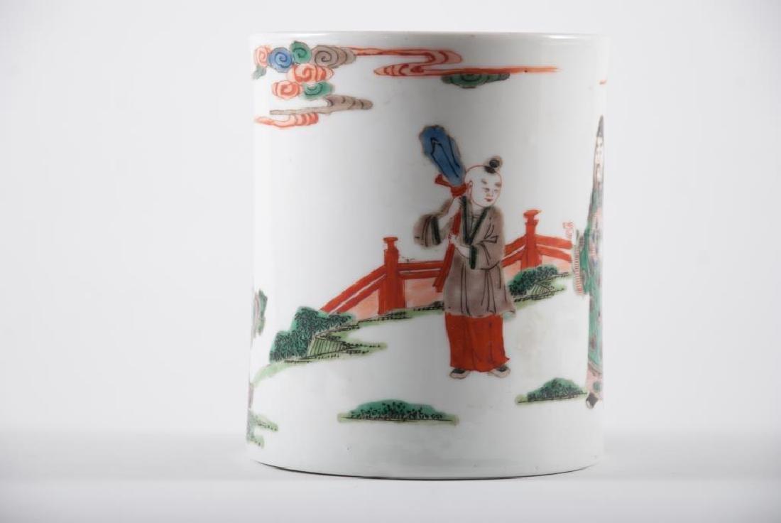 (19th c) CHINESE PORCELAIN BRUSH POT - 2