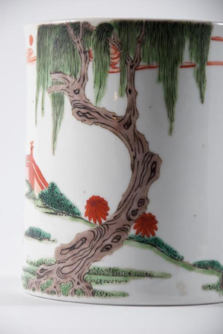 (19th c) CHINESE PORCELAIN BRUSH POT - 3