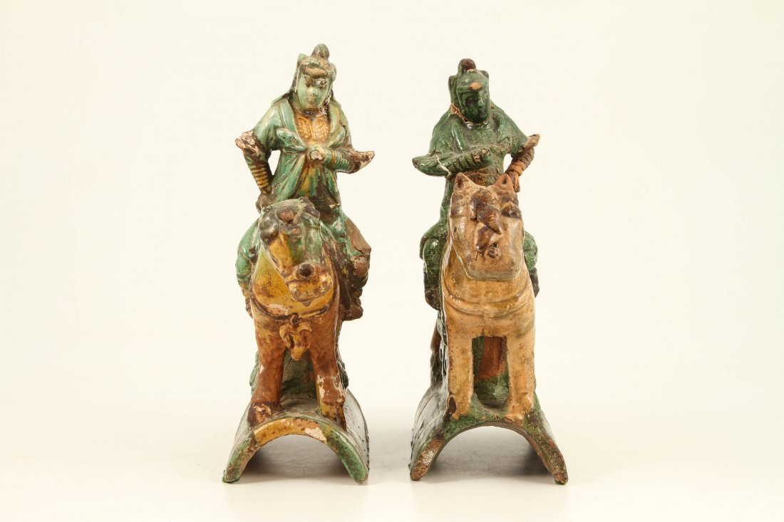 (2)CHINESE MING DYNASTY FIGURAL ROOF TILE FINIALS - 4