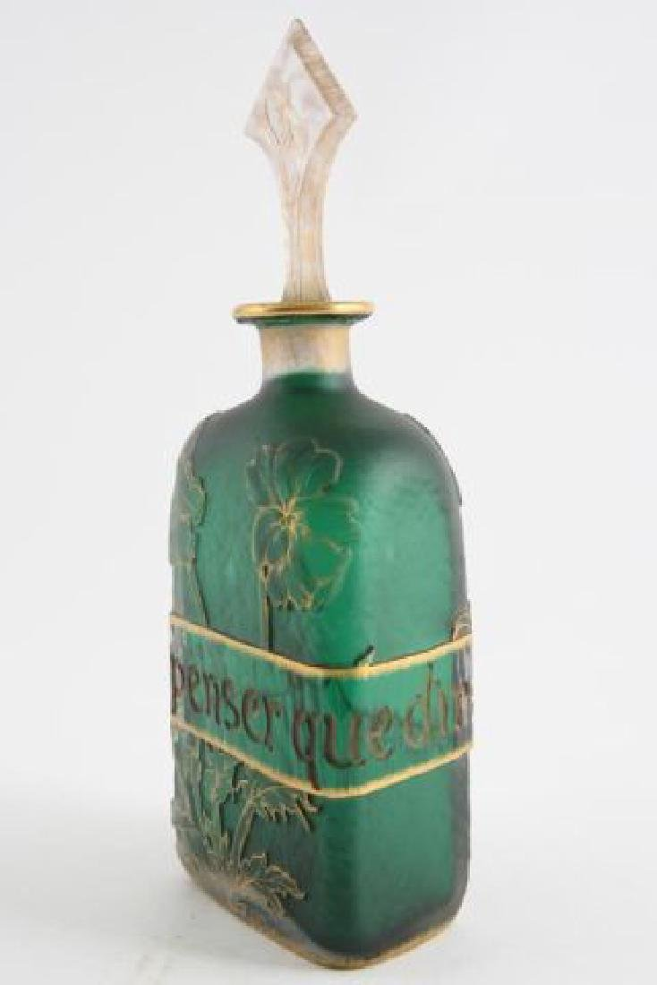 DAUM NANCY CAMEO GLASS BOTTLE with STOPPER
