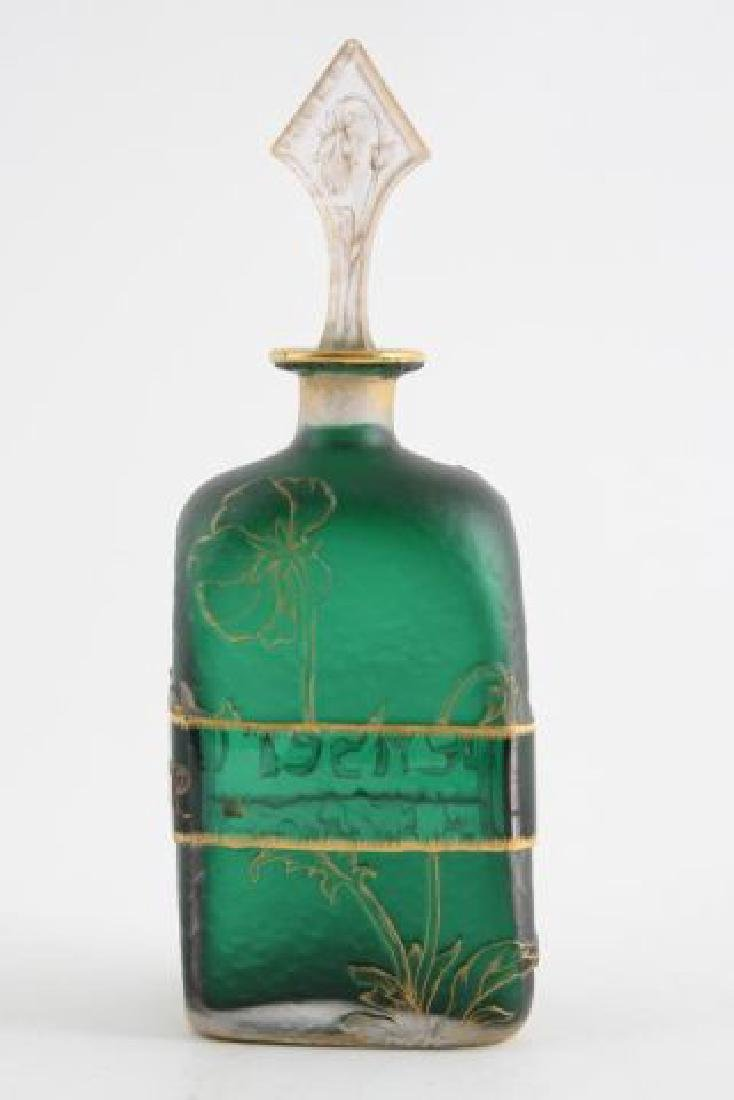 DAUM NANCY CAMEO GLASS BOTTLE with STOPPER - 2