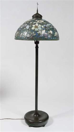 MAGNIFICENT TIFFANY STUDIOS MAGNOLIA FLOOR LAMP