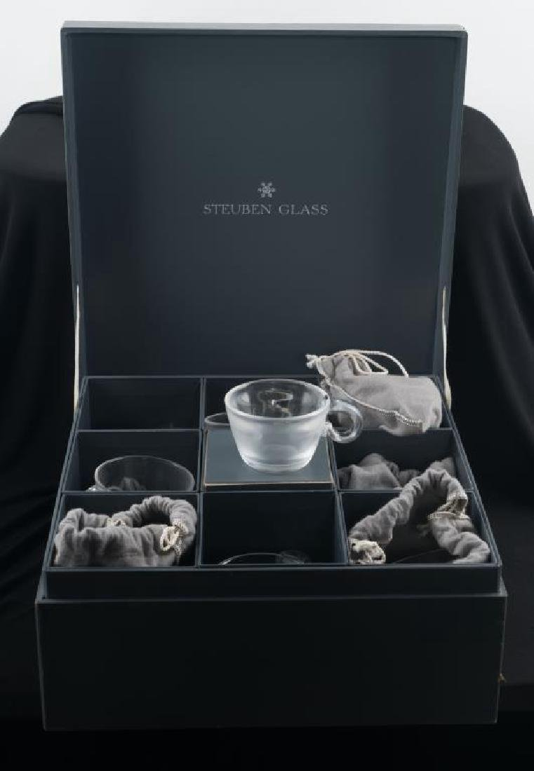 (8) STEUBEN CUPS WITH APPLIED HANDLES - 3