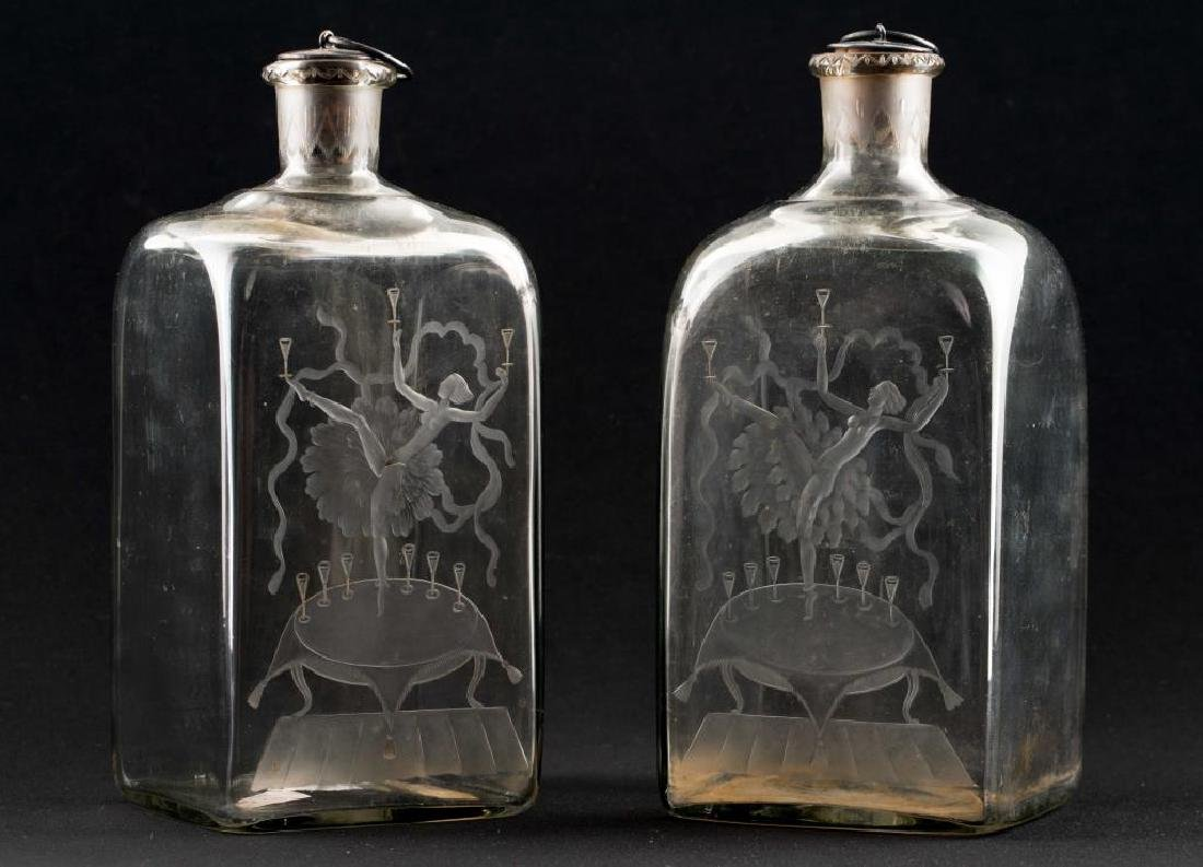 RARE PAIR OF ORREFORS ETCHED ART DECO DECANTORS